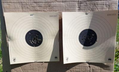 Skiver skutt stående på 10 meter med åpne sikter.