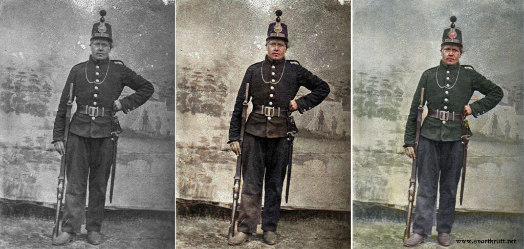 Fra venstre: Originalbilde, automatisk fargelagt vha. DeOldify og manuelt fargelagt i Photoshop.